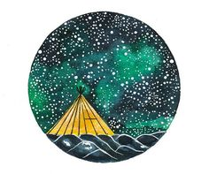 Original Watercolor painting art illustration Camping Tent Stars Starry sky on Etsy, $20.00