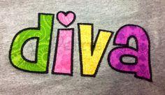 DIVA embroidered shirt diva princess girls shirt by LaPetiteTutus