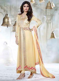 Beige Georgette Shilpa Shetty Layered Anarkali