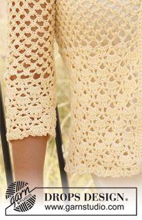 "Saco DROPS, en ganchillo / crochet, en ""Muskat"". Talla: XS – XXXL. ~ DROPS Design"
