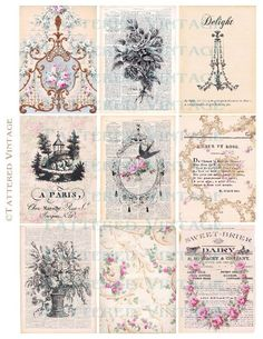 Antique Wallpaper Collage Sheet Tattered Vintage 457    Nine 2.5 x 3.5 inch ATC Backgrounds for Altered Art/ Tags    Your tatteredvintage orders