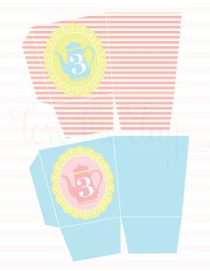 Frilly Tea Party Birthday PRINTABLE Popcorn Box by Love The Day