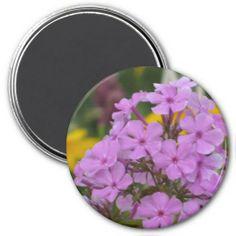 """Purple Garden Phlox 3"""" Round Refrigerator Magnet #zazzle #magnets #purple #garden #phlox #flowers"""