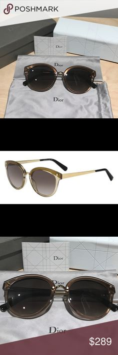 Authentic Dior Frozen 2 Sunglasses Torte gold This is brand new authentic Dior Frozen 2 Sunglasses in Torte gold. Dior's Frozen is a masterclass in sunglass style, with exciting and vibrant rims that reflect a long-forgotten hornrim style. Comes with original Dior sunglasses case.         - Color: Transparent Gold /Brown Shade - Made in Italy - Size: 56/19 /135 - Shape: Cat Eyes - Material Metal 100 % uv Dior Accessories Sunglasses