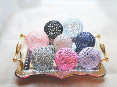 Lace Crochet balls Wedding decor idea Vase by VasilisaSkaska