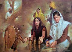 Babul Merian Gudian by Inayat Ali (Originally Recorded in Indian Art Paintings, Cool Paintings, Hindus, Punjab Culture, Rajasthani Painting, History Of India, Merian, India Art, Love Painting