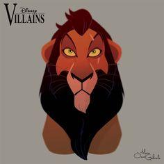 Personnages Disney en portraits - Favorites With Favorites - cicatrice Disney Pixar, Disney E Dreamworks, Disney Fan Art, Disney Villains, Disney Animation, Disney Characters, Scar Lion King, Lion King Movie, Lion King Art