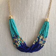 Gorgeous Statement Necklace Multiple strands of beaded chain in Lapis Blue, Turquoise and Gold. Beaded strands are finished on either side Bead Jewellery, Jewelery, Jewelry Necklaces, Beaded Necklace, Steampunk Necklace, Blue Necklace, Statement Necklaces, Bracelets, Premier Designs Jewelry