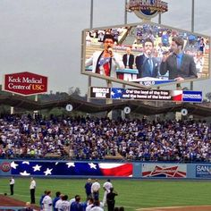 Singing the US national Anthem at the Dodgers game in LA.