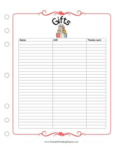 the wedding planner gifts checklist helps you keep track of which gifts came from whom