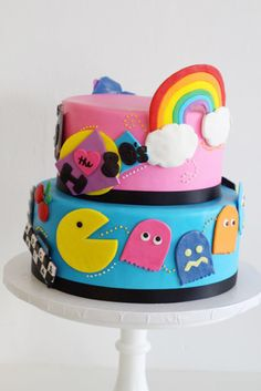 I love the 80's Rainbow Pac man cake