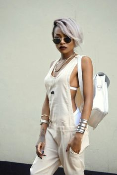 nyane mpho, gray hair, white jumper, street style inspiration, summer outfit