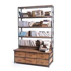 Made of wood and steel the Congress Bookcase has it all.  With ample shelving, drawers and a bench it has endless possibilites.  Custom made at the time of order no detail is overlooked. Sturdy enough for commercial use, yet desgined for the home.  Dimensions: 59