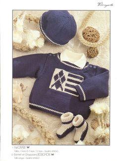 Pull jacquard brun clair (12 mois), motif renne. Fait-main en pure ... b1417dbd9a4