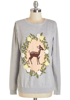Deer, Far, Wherever You Are Sweater. Whether youre exploring a forest or the hustle and bustle of a sprawling metropolis, pack this grey sweater by Sugarhill Boutique! #gold #prom #modcloth