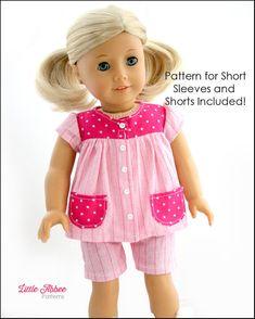 """Download Now - Sewing Pattern 18"""" Doll Pajamas PDF 72"""