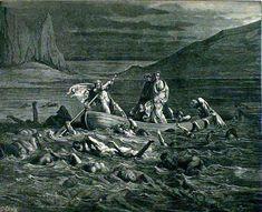Phlegyas ferries Dante and Virgil across swamp of Styx - Paul Gustave Doré