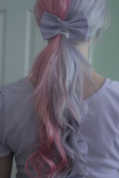 Lilac and pastel pink hair, ponytail