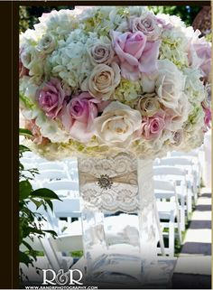 Love the vase with lace!