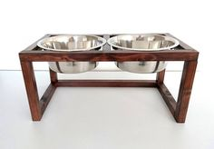 Wood Raised Dog Feeder, Double Dog Feeder, Dog feeding station, Pet Feeder made of spruce wood with two elevated stainless steel food bowls