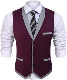 Coofandy Men's V-Neck Sleeveless Slim Fit Vest,Jacket Business Suit Dress Vest,Wine Red,Medium Waistcoat Designs, Waistcoat Men, Mens Suit Vest, Wedding Waistcoats, Wedding Vest, 1920s Mens Clothing, Dress Suits, Dress Vest, Vest Jacket