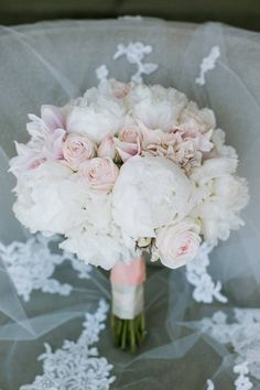 Blush Pink and White Romantic Bouquet // peony, spray races, soft, wedding, bride, bridesmaids, bridal