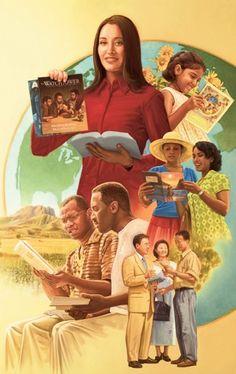 Testemunhas de Jeová em diversos países pregando as boas novas do Reino em muitas línguas