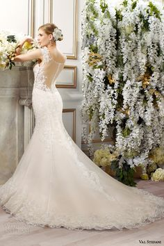 val stefani bridal spring 2015 style d8084 danica mermaid wedding dress embroidered applique straps illusion back view train
