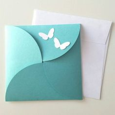 6 x 6 Petal Butterfly Wedding Invitation Set Butterfly Wedding Invitations, Wedding Invitation Sets, Diy Crafts For Gifts, Paper Crafts, Diy Birthday, Birthday Cards, Birthday Gifts, Origami Envelope, Diy Gift Box