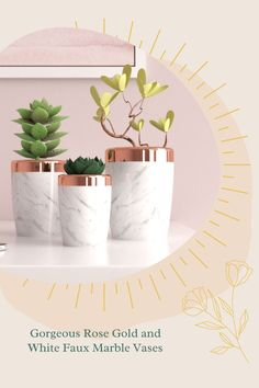 Check out this gorgeous rose gold and white marble vases! Rose Gold Vase, Rose Gold Decor, Gold Vases, Gold Planter, Glass Planter, Flower Planters, Flower Vases, Rose Gold Bedroom Accessories, Succulents In Containers
