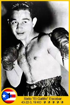 """Sixto Escobar (March 23, 1913 – November 17, 1979) was a Puerto Rican professional boxer. Competing in the bantamweight division, he became Puerto Rico's first world champion. Escobar was born in Barceloneta and raised in San Juan. There he received his primary education and took interest in boxing. After gathering a record of 21-1-1 as an amateur, Escobar debuted as a professional in 1931 defeating Luis """"Kid Dominican"""" Pérez by knockout."""