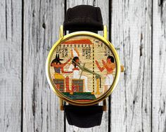 Vintage Egyptian Watch  Leather Watch  Ladies Watch by RedJuanShop