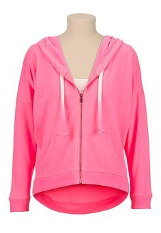 Pink High-low Zip front hoodie (original price, $29) available at #Maurices