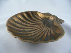Visitenkarten Schale Muschel Messing Bronze?