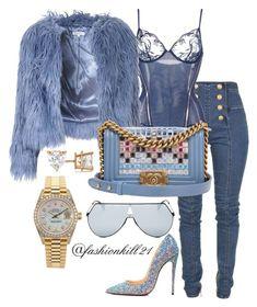 """Untitled #1454"" by fashionkill21 ❤ liked on Polyvore featuring Balmain, La Perla, Glamorous, Christian Louboutin, Chanel, Fendi, Rolex and Allurez"