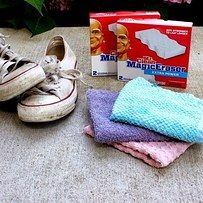 Use Magic Eraser to make your favorite sneakers bright again. | 21 Hacks Everyone Who Wears Clothes Should Know