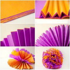Pompones de papel de seda #pompom #diy @Manaira Abreu da pra fazer com cores!