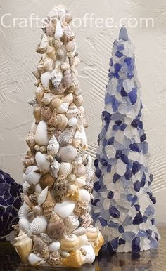 seashell crafts and sea glass crafts for beach theme decorating