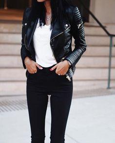 Weekend ready: @andicsinger wears our Leather Biker Jacket. #seedheritage #instagram #woman