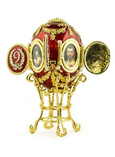 The Caucasian Egg by Karl Fabergé, 1893. The egg was made for The Empress Maria Feodorovna. Inside the doors of the egg there are miniatures of the places in The Caucasus where George Alexandrovich, the son of The Empress and The Emperor, has lived, 1893 Russia ✿⊱╮