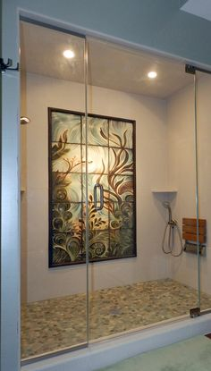 Natalie Blake Studios' custom bathroom tile: handmade, sgraffito-carved, ceramic