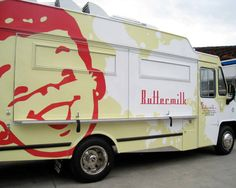 The Buttermilk Truck, Los Angeles.  With a charming retro-style logo and graphics, this traveling comfort-food station serves enticing breakfast entrees (buttermilk-biscuit sandwiches, red velvet pancake bites) to hungry Angelenos, both in the morning and late at night.