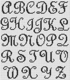 Cross Stitch Mania: Free Swirly Script Alphabet Cross Stitch Chart- template for crochet blanket? Cross Stitch Letter Patterns, Cross Stitch Letters, Cross Stitch Charts, Cross Stitch Designs, Stitch Patterns, Loom Patterns, Crochet Alphabet, Crochet Letters, Embroidery Alphabet