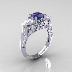 Modern 14K White Gold Three Stone Alexandrite CZ Diamond Solitaire Engagement…