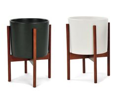 """Case Study PLanter - Modernica USA. POTTERY AND WALNUT  $149. small: 17.9"""" h 