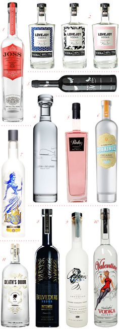STUNNING SPIRITS: VODKA  A girl cannot live on gin alone so let's take a look at some gorgeous bottles of vodka! From romantic, to contemporary, to downright girly (how cute is Pinky?) these bottles are certainly worthy of display.  1. Joss  |  2. Lovejoy  |  3. Black Moth Truffle Infused Vodka  |  4. Jonah + the Whale  |  5. Pinky  |  6. Prairie Organic Vodka  |  7. Snow Queen  |  8. Belvedere Intense   |  9. Chopin  |  10. Valentine  |  11. Death's Door