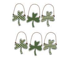 Tin Shamrock Ornaments Set of 6 St Patricks Day Art Deco Dot Chev Stripe Primitive Irish Green Clover Tree Decor Lucky Leaf by GingerPrimitive on Etsy https://www.etsy.com/listing/262034313/tin-shamrock-ornaments-set-of-6-st
