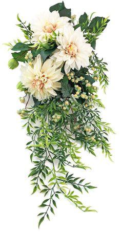 Cafe au Lait Dahlia Bridal Bouquet Cascade - Silk Wedding Flowers - TheBridesBouquet.com