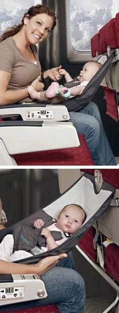 FlyeBaby is a hammock-type seat that can be used on an airplane during the cruise portion of the flight as a comfortable and convenient place to put your baby. It can also attach to most dining room chairs to serve as a portable high chair.