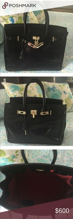 """Maxwell Scott Birkin Bag. Gorgeous black glazed leather with a pop of red interior. Bought in England made in Italy. Exceptional craftsmanship throughout. Like new condition. 13""""Lx10""""Wx4""""W. Won't be disappointed and save yourself $8k over the H brand. maxwell scott Bags Satchels"""